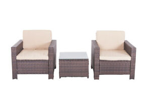3PC  Sofa Set Outdoor Patio Furniture Sectional Brown Rattan Wicker Chair