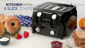 KitchenSmith 4 Slice Toaster 6 Browning Settings Extra Wide Slots, Black - New