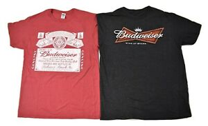 2 Budweiser Mens Shirts 1 Red Heather 1 King of Beers Bow Tie Logo Shirt New M $9.99
