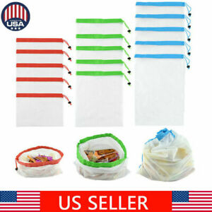 15 Pack Reusable Mesh Produce Bags Fruit Vegetable Storage Shopping Eco Friendly