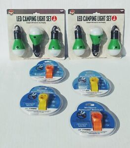 Lot of camping supplies. LED lights and insect repellant bracelets