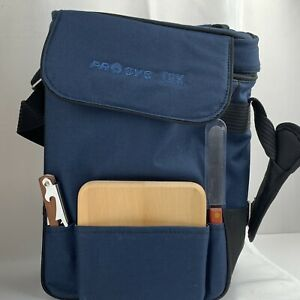 Picnic Time Wine & Cheese Cooler Tote Blue Canvas Cutting Board Knife Corkscrew