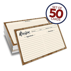 Set 50 Double Sided Recipe Cards 4x6 Inch Thick Cardstock Lines Easy Write Sm...