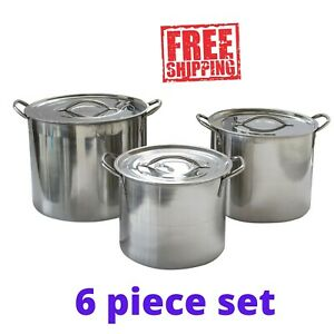 6 Piece Stainless Steel Stockpot Set Pot Set Beer Brewing Soup Chili Pasta Steam