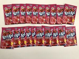 20 Packs of Kool Aid STRAWBERRY Flavor Drink Mix Packet NEW Free Shipping RED