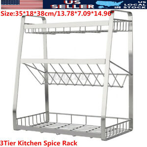 3 Tier Kitchen Spice Shelf Rack Stainless Steel Countertop Spice Jar Bottle Home