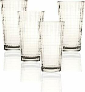Circleware 44102 Matrix Heavy Base Highball Tumbler Drinking Glasses, 4-Piece