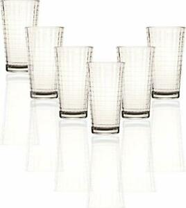 Circleware Matrix Set of 6 Heavy Base Tumbler Cooler Beverage Glasses Matrix