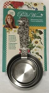 PIONEER WOMAN STAINLESS STEEL FLORAL HANDLE MEASURING CUP's 4 pc set NEW