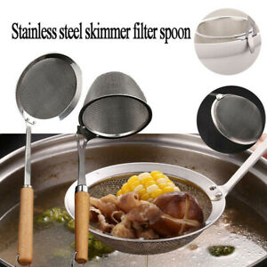 Skimmer Strainer Stainless Steel Ladle Spoon Soup Mesh Filter Kitchen Cooking AE