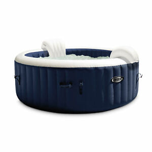 Intex PureSpa Plus 6 Person Portable Inflatable Hot Tub Jet Spa with Cover Navy