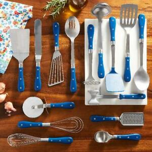 The Pioneer Woman Frontier Collection 15-Piece Cooking Utensil Set, cobalt blue