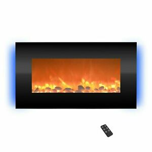 Electric Fireplace Wall Mounted Adjustable Heat Remote Backlight Colors Timer
