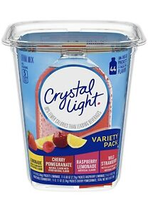 Crystal Light On-The-Go Variety Pack Powdered Drink Mix, 4.84 oz Tub (44 Count)