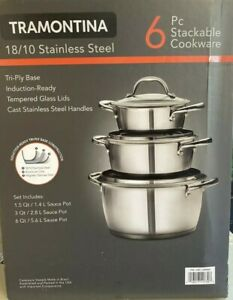 Tramontina 6 pc stackable cookware 18/10 stainless steel