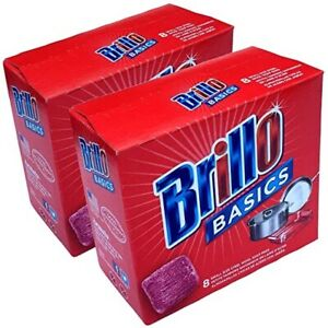 Brillo Basics 8 Small Size Steel Wool Soap Pads Lot Of 2