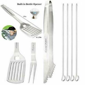 Extreme Salmon BBQ Grill Tool Set, Accessories, Extra Thick Silver-7PCS
