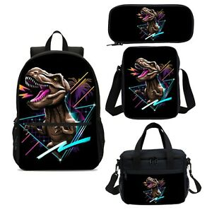 Cool Dinosaur Triangle Boys Backpacks Insulated Lunchbox Sling Bag Pen Case Lot $10.99