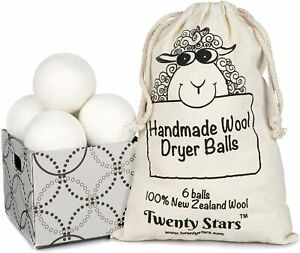 6-pack Laundry Wool Dryer Balls - 100% New Zealand Wool - Twenty Stars