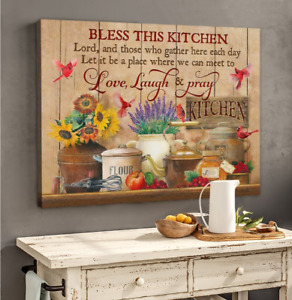 Cardinal Bless This Kitchen Love Laugh Pray Kitchen Wall Decor Poster No Frame