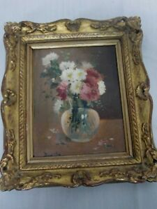 ANTIQUE SIGNED OIL ON BOARD FRENCH SCHOOL PAINTING STILL LIFE FLOWERS IN VASE $300.00