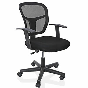 Office Chair Computer Desk Black Ergonomic Executive Mesh Chair Swivel Mid Back $44.99