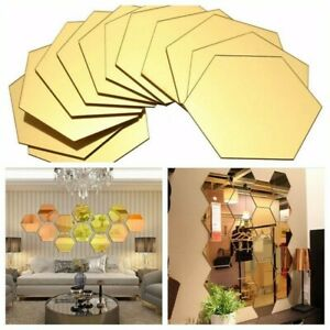 12Pcs 3D Removable Mirror Wall Sticker Hexagon Style Decal Home Decor Art DIY