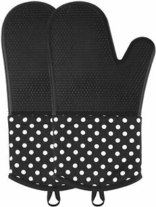 Silicone Oven Mitts, Extra Long Kitchen Oven Gloves, Professional Heat Resistant