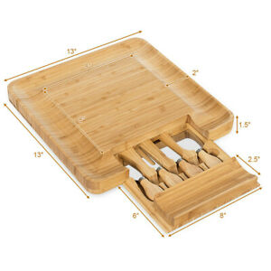 Bamboo Cheese Cutting Board Knife Set Charcuterie Meat Serving Tray w/ Drawer