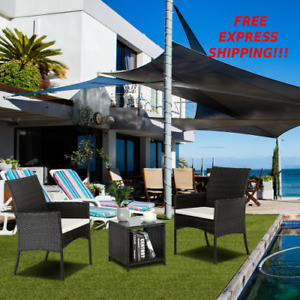 Rattan Patio Furniture Dining Set Chairs With Cushions And Table Outdoor Garden
