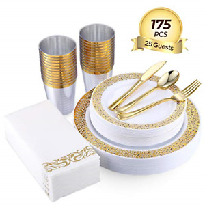 Gold Disposable Dinnerware Sets For Party Wedding Food Grade Plastic 175pcs New