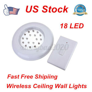 Wireless 18 LED Ceiling Wall Stairs Closet Light Remote Control Switch Lamp US
