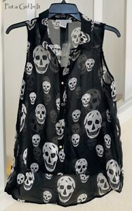 Womens CHIFFON BLACK WHITE SKULL SLEEVELESS GOTH PIRATE BIKER TANK SHIRT S M L