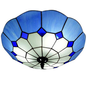 Tiffany Style Flush Mount Ceiling Lamp Stained Glass Shade Bedroom Light Fixture