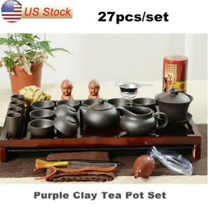 Chinese Kung Fu Tea Set Purple Clay Tea Pot with Beautiful Wooden Tray Gift $36.19