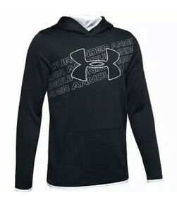 Under Armour Boys' Size Youth Small 1343273 001 Big Logo Fleece Hoodie NWT $40 $19.99