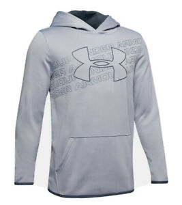 Under Armour Boys' Size Youth Small 1343273 Big Logo Fleece Hoodie NWT $40 Gray $24.99