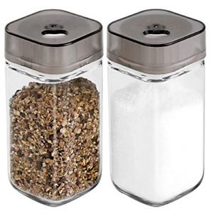 Salt and Pepper Shakers Set with Adjustable Pour Holes - Premium Salt and Pepper