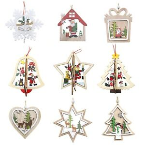 Christmas Wooden Pendants Ornaments Creative Craft Xmas Tree Party Kids Gifts