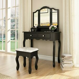 Vanity Makeup Dressing Table Set W/Stool 4 Drawers & Tri Folding Mirror Jewelry