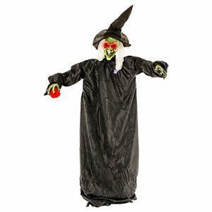 Halloween Haunters 5ft Animated Wicked Witch Red Apple LED Eyes Prop Decoration