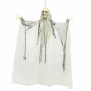 Halloween Haunters Hanging 4ft Scary White Face Old Ghost Witch Prop Decoration