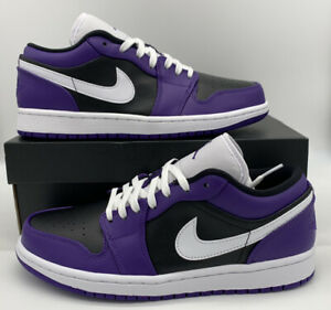 Nike Air Jordan 1 Low Court Purple White Black 553558 501 Retro Shoes Mens Size