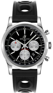 Brand New Breitling Transocean AB015212BF26-200S Black Dial Steel Men's Watch