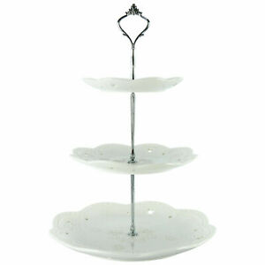 Homend 3 Tier Ceramic White Round Cake Cupcake Stand Food Platter Serving Holder