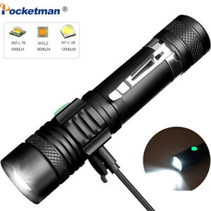 12000LM LED Flashlight Zoomable Torch Bicycle Light Rechargeable Lamp T6 L2 V6 $12.89