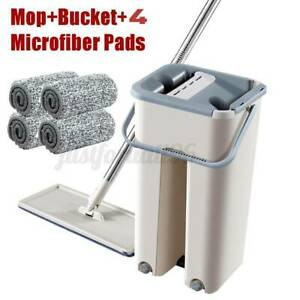 Microfiber Flat Mop And Bucket Kit Mop Magic Hand Free Self-Washing with 4 Pads