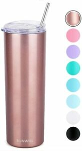 SUNWILL Straw Tumbler Skinny Travel Tumbler with Lid, Vacuum Insulated Double Wa