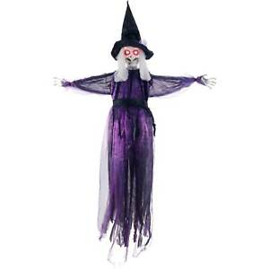 Halloween Haunters 6ft Hanging Talking Wicked Witch Red LED Eyes Prop Decoration