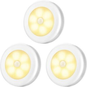 Motion Sensor Warm LED Night Lights Battery Operated 3 pack for Indoor amp; Outdoor